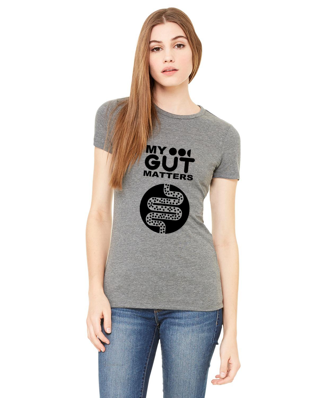 Мy Gut Matters Female T Shirt Grey-Black