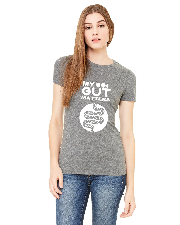 My Gut Matters Female T-Shirt Grey-White