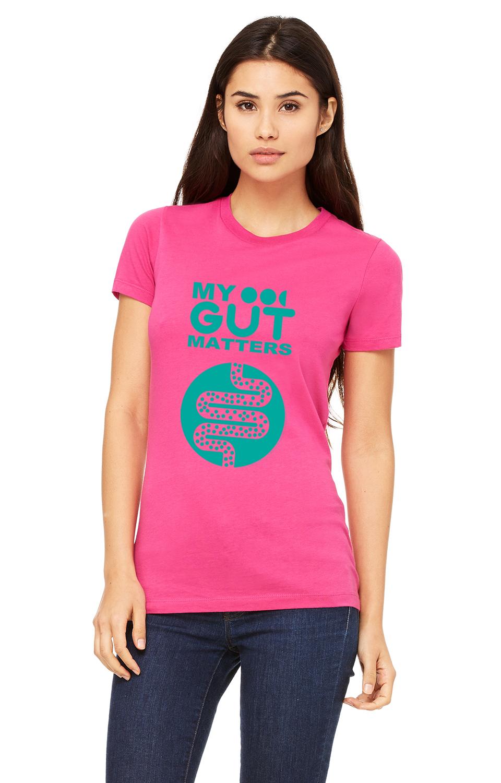 My Gut Matters Female T-Shirt Pink-Aqua